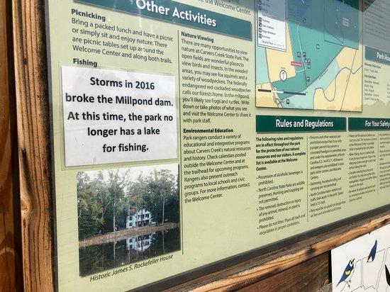 Carvers Creek State Park: Broken dam = no pond