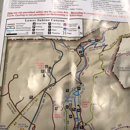 Maps available at Visitors Center Picture of Sabino Canyon Tucson