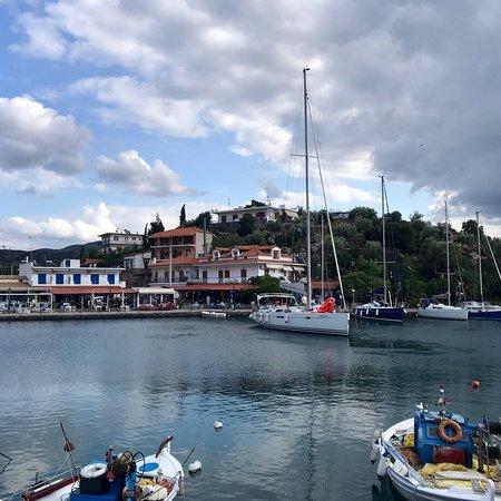 Methana, Grecia: Shrimp saganaki, the best one!