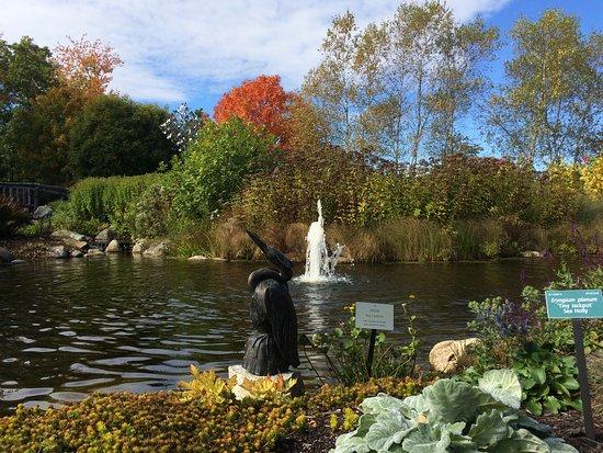 Coastal Maine Botanical Gardens: a fountain and sculpture in the main garden area