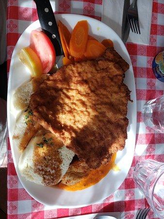 My Place: Wienerschnitzel, sausage & chicken with dumplings