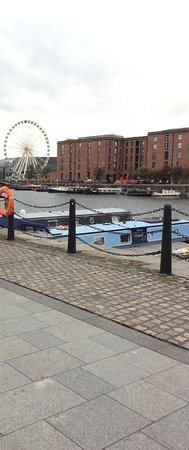 Royal Albert Dock Liverpool: A view over the dock with the big wheel.