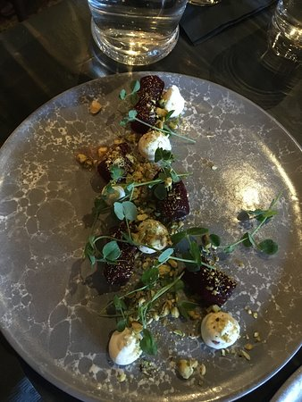 Beet and goat cheese plate