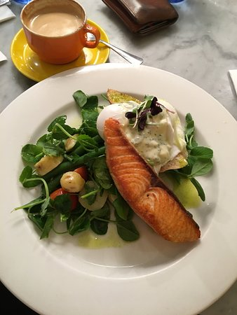 The Hardware Societe: Salmon special of the day servd with poached eggs and salad