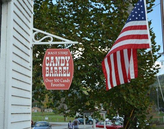 Mast General Store: Candy Barrel Sign