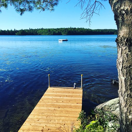 Monroe, ME: private dock and raft on Toddy Pond