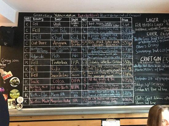 Penrith, UK: Fell beer selection