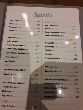 Mimosa Beach Hotel Drinks Prices 1
