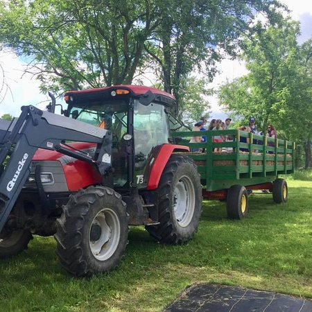 Washington, NJ: A hayride full of guests experiencing the farm's scenic views.