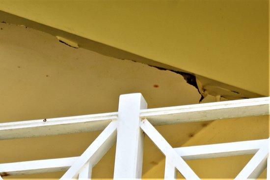 Damaged ceiling on balcony