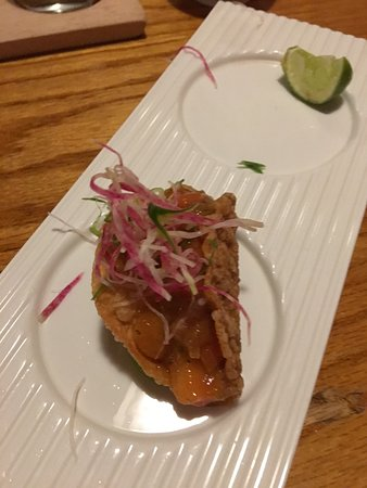 One of 3 ceviche tacos