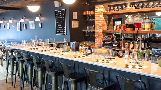 Stoll & Wolfe Distillery: Tasting Room Set Up for a Recent Whiskey Tasting