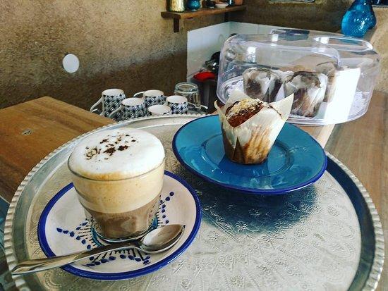 Mesr Village, Mesr Desert, Iran, Pazirik Ecolodge. Cappuccino w fresh milk from the farm.