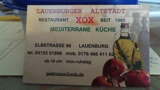 Lauenburg an der Elbe, Tyskland: Restaurant XOX