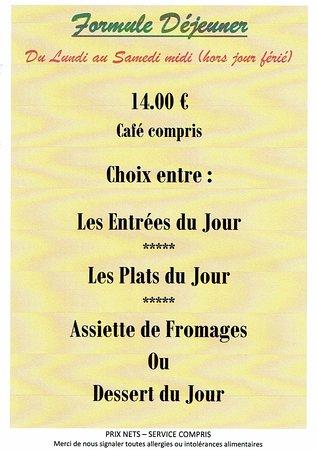 Randan, França: menu du jour du lundi au samedi midi (hors jour fériés)