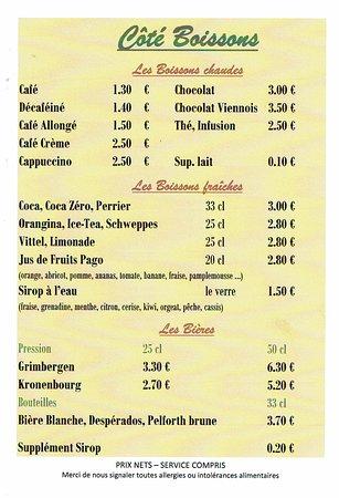 Randan, França: carte des boissons