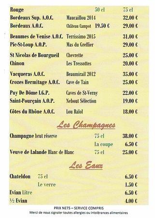 Randan, França: carte des vins