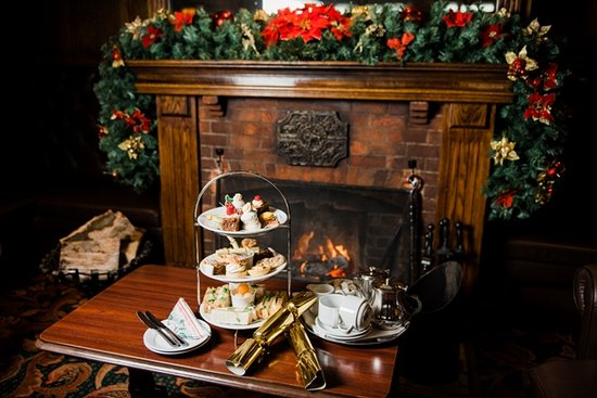 Panorama Restaurant at Raven Hall Hotel: Festive Afternoon Tea by the fire