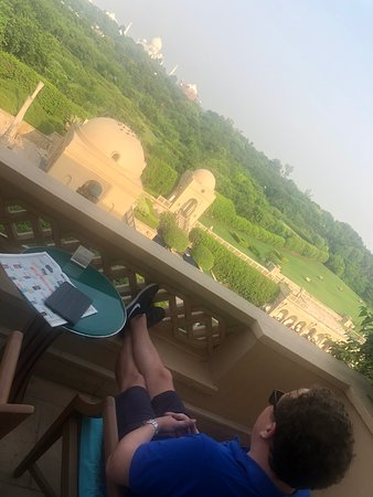 Looking out to the Taj from the balcony