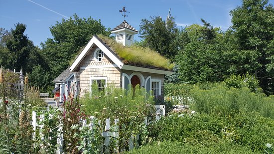 """Coastal Maine Botanical Gardens: Turf House - part of children's section focused on """"story-book"""" type settings"""