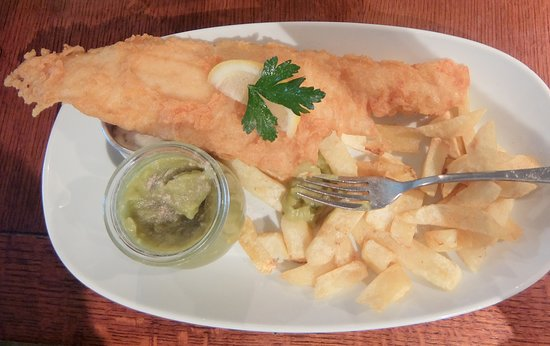 Nottinghamshire, UK: Scottish Haddock, Chips and Mushy Peas