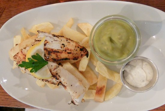 Nottinghamshire, UK: Inka Grilled Cod , Chips and Mushy Peas
