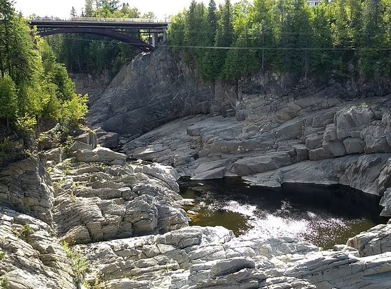 Grand Falls Gorge with zipline (at top)