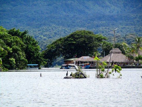 Lake Nicaragua with view of homes and volcano