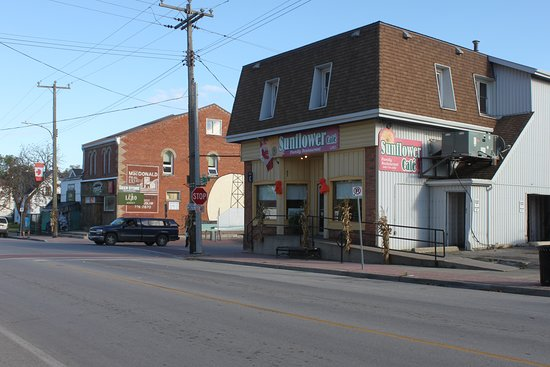 downtown Selkirk; view of the Sunflower Cafe from across the main street.