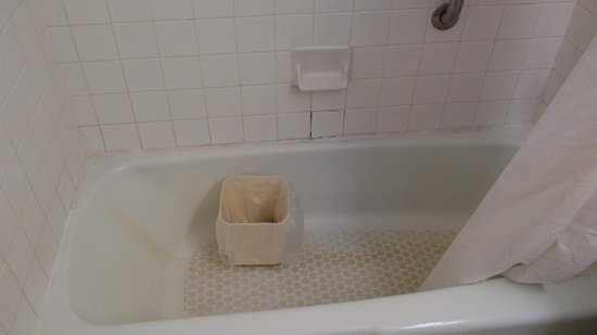 Milesburg, Pensylwania: A garbage can left by maintenance in our shower to catch the leak before we checked in.