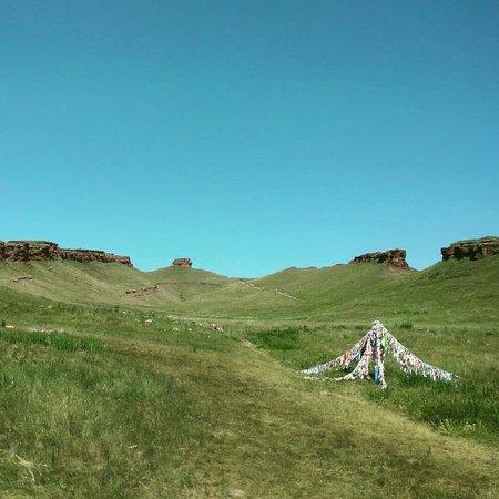 Iyus, Russland: Вид у подножия сундука. Камера повернута слегка вверх для захвата достопримечательности.