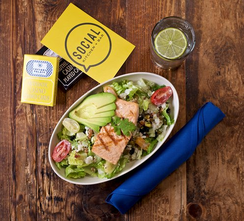 Social Kitchen + Bar: Chop-Chop Salad with added Salmon