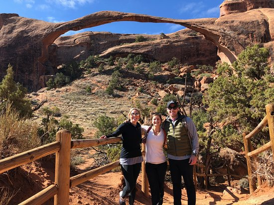Landscape Arch - us with our guide, Kelsey!