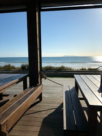 Waihi Beach, New Zealand: View from our table.