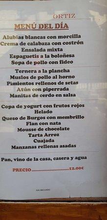 Frias, Spain: Menu del dia casero y abundante a muy buen precio