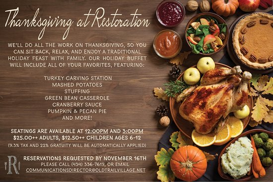 Restoration at Old Trail: 2018 Thanksgiving Day Buffet