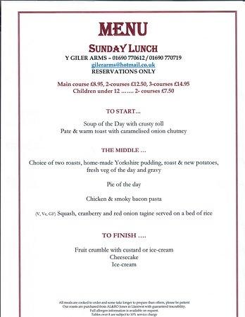 Rhydlydan, UK: Sunday lunch starting 21st October 2018