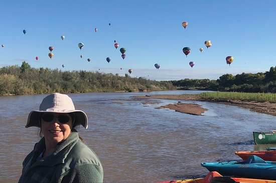 Bernalillo, NM: On the Rio Grand, paddling the balloon fiesta
