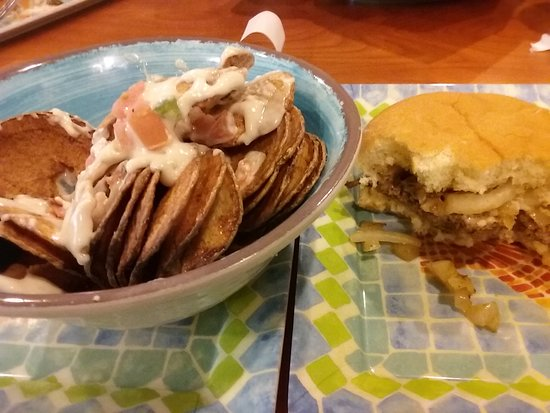 Kahuna's Burgers-N-More: extra crispy white volcano and excellent single burger with swiss and grilled onions