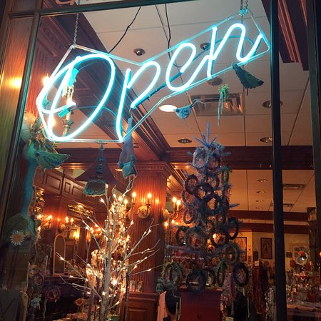 Olga Gallery, Cafe, & Bistro: When you see the neon Open sign Olga's is open!