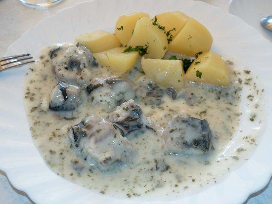 """Altwarp, Niemcy: Aal  """" weissgekocht """" mit Petersiliensoße und Salzkartoffeln"""