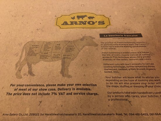 Menu - Picture of Arno's Butcher and Eatery, Bangkok