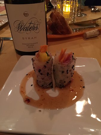 Touchet, WA: Second Course. Carrot Paper Prosciutto, Mango, Basil, Honey-Chili