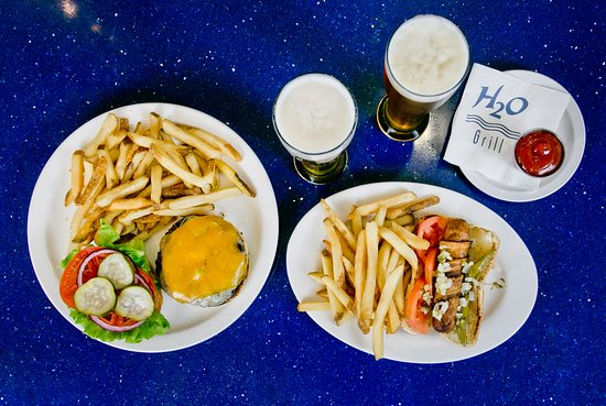 H2O Grill and Bonsai Sushi Bar: bacon wrapped chicago style hot dog + build your own burger