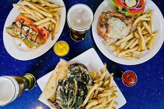 H2O Grill and Bonsai Sushi Bar: crispy buttermilk chicken sandwich + bacon wrapped chicago style hot dog + ribeye sandwich