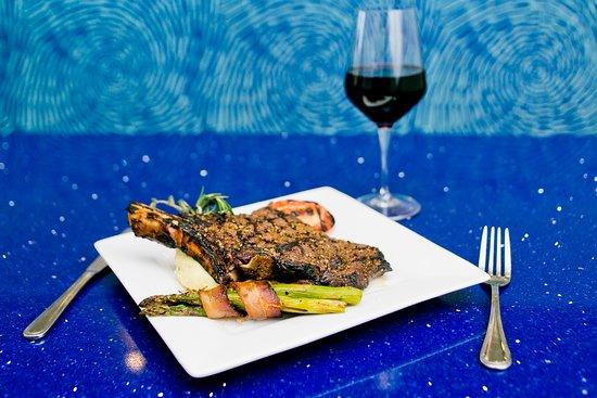 H2O Grill and Bonsai Sushi Bar: center cut bone-in ribeye steak