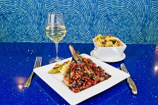 H2O Grill and Bonsai Sushi Bar: panéed pork chops + fried brussels sprouts