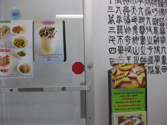 Sushi North: 階段の張り紙