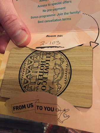A wooden room card!