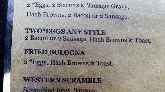 Ellsinore, MO: Breakfast menu